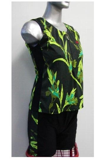 フィットネス用セパレーツ/黒×黄の花柄/半ファスナー