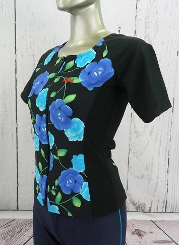 セパレーツ/トップス/半袖/黒地にブルーの花柄/フルファスナー